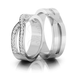 14k White Gold Polish Flat His And Hers Matching Wedding Rings 0.36 Carat Round Diamond 6mm 02108