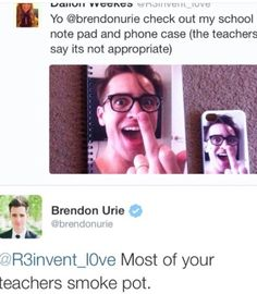 Funny Quotes Panic At The Disco. Emo Band Memes, Emo Bands, Music Bands, Pop Punk, Brendon Urie Memes, Funny Quotes, Funny Memes, Hilarious, Dallon Weekes
