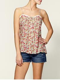 Hive and Honey floral henley tank for Layering in Beige.