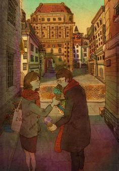 韩国插画家把自己和爱人的生活画成插图,吵架的情侣看完都和好了!