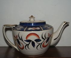antique blue and white  Stanley   teapot    fine by capecodgypsy, $65.00