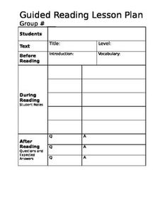 This is an easy to use guided reading lesson plan template- perfect for the Daily 5.  A TEKS box is included for Texas teachers.  The sections of the plan include: * Students * Title and Level * Before Reading (introduction and vocabulary) * During Reading (student notes) * After Reading (Q & A) * TEKS * CAFE strategy * Goals for Next Meeting Also, this is a Word document, so you can change it up to your hearts content!