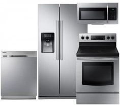 """Save a lot of money at www.DiscountBandit.com. Seriously, check them out; they have the best deals on tons of stuff! Samsung 4-Piece Stainless Steel Kitchen Package with RS25J500DSR 36"""" Side-by-Side Refrigerator NE59J3420SS 30"""" Freestanding Electric Range DW80J3020US 24"""" Full Console Dishwasher and ME16H702SES 30"""" O"""