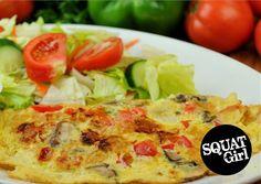 Vegetable omelette! #healthy #food #squat #fitness #workout #vegetable #omelette  Visit squatgirl.com for more. Omelette, Squats, Healthy Food, Tacos, Nutrition, Workout, Chicken, Meat, Vegetables