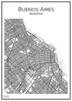 Handritad stadskarta över Buenos Aires i Argentina. Här kan du beställa stadskarta över din stad och andra svenska samt utländska städer.