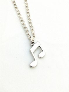 Music Notes Necklace Eighth Notes Necklace Silver by UrbanClink, $34.95