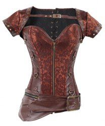 Steampunk Sweetheart Neck Short Sleeve Slimming Women's Corset Outfits