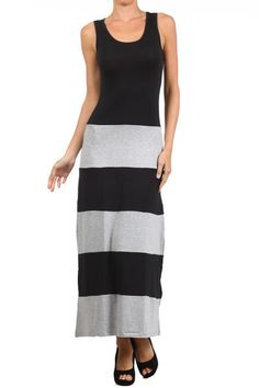 BLACK GRAY BISCOT STRIPED JERSEY COLOR BLOCK SOFT SILKY TANK MAXI DRESS S M L #WearItLikeADiva #Maxi #Casual