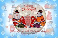 Watercolor Christmas set. by skvorka on @creativemarket