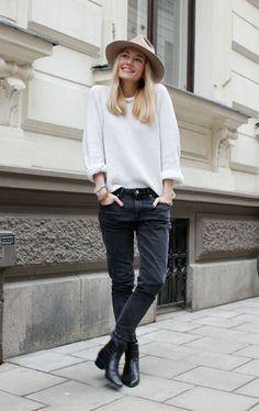 white knit sweater + black skinnies + black booties