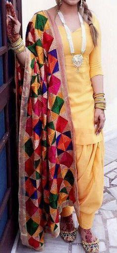 Golden Punjabi Patiala salwar suit with 8 color Phulkari Dupatta - Dress material suit Patiala Suit Designs, Patiala Salwar Suits, Salwar Suits Party Wear, Party Wear Dresses, Phulkari Suit Punjabi, Sharara Suit, Punjabi Dress, Pakistani Dresses, Indian Dresses