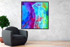 Printable Abstract Art, instant download art, Large SQUARE Painting, Instant Download, Male nude, Male Figure, Large Wall Art, violet, blue by BernardTeklicArt on Etsy