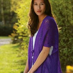 The Charisma Lace Cardigan is a real beauty. Knitting a cardigan doesn't get much better than this. The deep violet hue mixed with the light and lacy yarn make this free knitting pattern a feminine standout. The loose drape makes this cardigan ideal for both casual and dressier events. The relaxed look is incredibly popular these days, so you will be right on trend when you wear this knitted cardigan. An easy and versatile design will have you wondering why you didn't make this beauty…