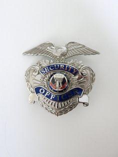Vintage Security Officer Metal Badge