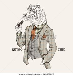 Fashion Illustration Of Tiger Dressed In Vintage Style, Retro Chic, Vector Image - 149652026 : Shutterstock