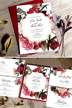 This elegant floral printable wedding invitation set is perfect for any romantic floral marsala burgundy wedding. Full DIY suite comes with editable templates and are easy and affordable. This design will be perfect for Boho Wedding Theme, Summer, Winter, Fall or Spring Floral Wedding Complete the look with matching RSVP, Details Card, Thank You, Save The Date and a full range of reception cards. #marsalainvitations #burgundywedding #marsalawedding #summerwedding #floralwedding