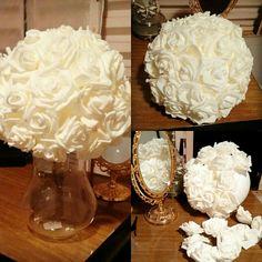 DIY bola de isopor de 15 cm com flores de EVA de 6 cm