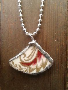 Vintage China Pendant & Necklace by AzureJoyeria on Etsy