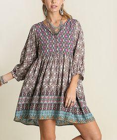 Look at this #zulilyfind! Olive Green Arabesque V-Neck Dress #zulilyfinds