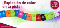 Camisetas divertidas de pádel en diversos colores.