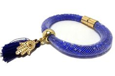 JTY481 - Royal Blue Tube Bracelet With Tassel