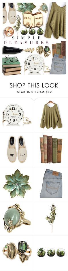 """Book Worm"" by kvojtkofsky ❤ liked on Polyvore featuring Kate Spade, Soludos, Abercrombie & Fitch, Vintage, OKA, Alexis Bittar and Kate Rowland"