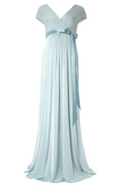 A beautiful shade of Sea Breeze in our new Alessandra special occasion maternity gown.