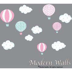 Hot Air Balloon Nursery-Hot Air Balloon Decals-Hot Air Balloon and... ($49) ❤ liked on Polyvore featuring home, home decor, wall art, home & living, home décor, silver, wall decals & murals, wall décor, girls wall stickers and wall decal stickers