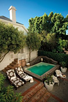 """One of Cape Town's premier boutique hotels, Cape Cadogan offers convenience to all the draws of the """"Mother City"""" with a location on popular Kloof Street Outdoor Areas, Outdoor Pool, Outdoor Decor, Swimming Pool Designs, Swimming Pools, Mini Piscina, Outside Pool, Porch And Balcony, Plunge Pool"""