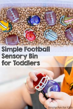 Sensory Activities for Toddlers: Simple football sensory bin with beans! Sensory Activities f Sensory Tubs, Sensory Activities Toddlers, Sensory Boxes, Autumn Activities For Kids, Infant Activities, Sensory Play, Preschool Activities, Sports Activities, Toddler Sports