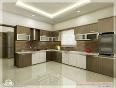 Admirable Kitchen Interior Design with Contemporary Floor Design L Shaped Kitchen Light Brown and White Combination Unique Ceiling