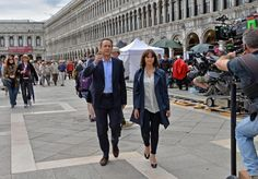 Tom Hanks and Felicity Jones on the set of Inferno (2016)