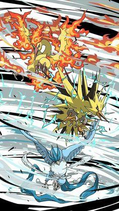 Moltres, Zapdos and Articuno. Pokemon Go, Pokemon Legal, Pokemon Poster, Pokemon Fan Art, Pokemon Backgrounds, Cool Pokemon Wallpapers, Cute Pokemon Wallpaper, Pokemon Images, Pokemon Pictures