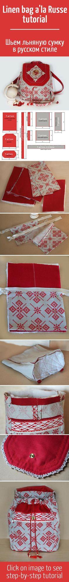 Шьем льняную сумку в русском стиле / How to sew linen bag a'la Russe tutorial...<3 Deniz <3