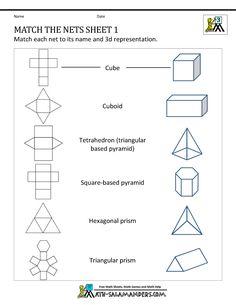 math nets worksheets match the nets 1