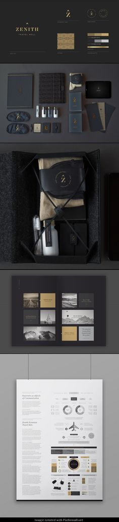 Zenith Premium Travel Kits / veronica cordero | #stationary #corporate #design #corporatedesign #identity #branding #marketing < repinned by www.BlickeDeeler.de | Visit our website: www.blickedeeler.de/leistungen/corporate-design