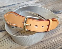 """Great combination of London Tan bridle leather and Khaki webbing 1 1/2"""" Width Bruton belts chosen by a customer in June 2014 http://www.worcestershireleathercompany.com/bruton-bridle-leather-belt"""