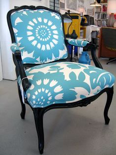 Vintage Fauteuil Chair with New Paint and Upholstery.