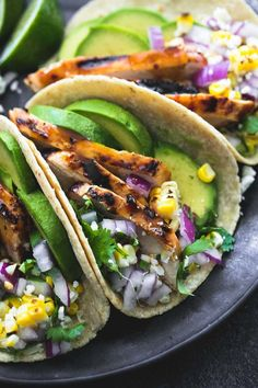 The best grilled chicken tacos marinade makes these the ultimate, healthy grilled tacos you'll ever make!   It just hit me last night that we are on the downhill side of official grilling season and I