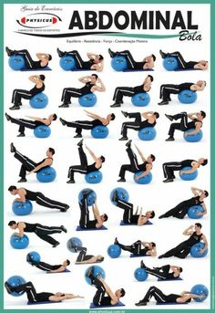 Exercise Charts for Stability Ball (Balance Ball, Swiss Ball) and BOSU The stability ball has become a common household item. Stability ball exercise posters guide you through dozens of target toning exercises and motivate you to exercise at home. Pilates Ring Exercises, Abdominal Exercises, Toning Workouts, At Home Workouts, Floor Exercises, Yoga Ball Workouts, Yoga Ball Abs, Exercise Ball Abs, Ab Moves