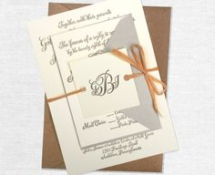 Rustic and Antique Letterpress Calligraphy Wedding Invitation: gray, cream, brown