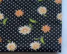 HALF YARD  cotton fabric with gerbera flowers by ChezviesSupplies, $2.50