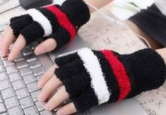 Black with Stripes USB Heating Warmer Hand Gloves  $15.99
