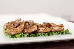 grilled shrimp on green onions - love this presentation!