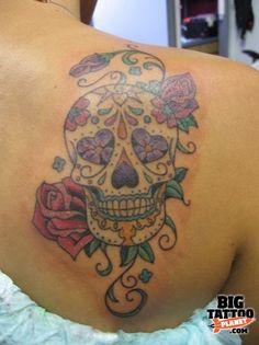 I really love sugar skulls. Kate Carrillo - Black and Grey Tattoo | Big Tattoo Planet.