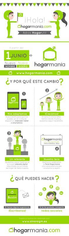 Nueva infografía diseñada para hogarmania (antes Hogarutil) explicando el cambio de nombre y diseño. #infografia #diseño #ilustracion #hogarutil #hogarmania Medicine, Name Change, Social Networks, Health, Food
