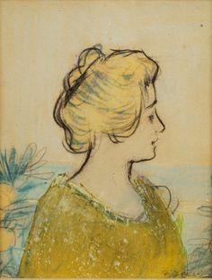 CASAS CARBÓ, Ramón (Barcelona, 1866 – 1932).Retrato femenino.