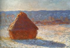 """Haystack, snow effect"" by Claude Monet, 1891"