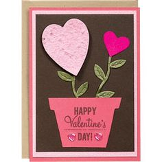 Happy Valentine's Day Flower Pot with seed paper to start your own flowers!