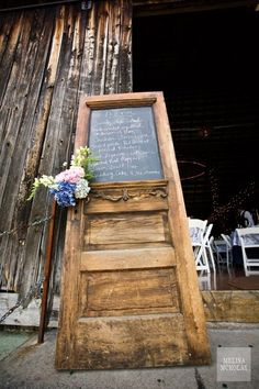 wedding menu old door by hiidy
